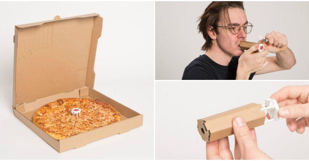 Pudełko z pizzy, z którego można zrobić lufkę do palenia marihuany