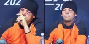 Zawodnik UFC – Nate Diaz waporyzuje olej CBD na konferencji po walce