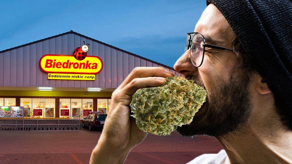19-latek zjadł marihuanę ze słoika w sklepie Biedronka